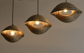 Bambù intrecciato sea shell forma mediterinean lampade a sospensione