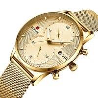 Men Gold Watch Chronograph Sport Mens Watches Top Brand Luxury Waterproof Full Steel Quartz Gold Clock Men Relogio Masculino New