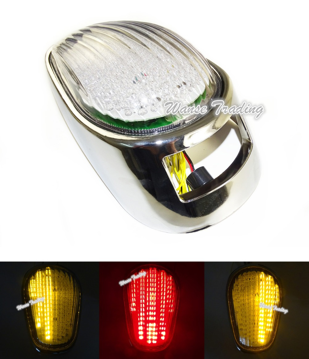 E-Marked Tail Brake Turn Signals Integrated Led Light Clear For 2004 2005 2006 2007 2008 2009 2010 KAWASAKI Vulcan 2000 VN2000 aftermarket free shipping motorcycle parts led tail brake light turn signals for yamaha 2004 2009 fz6 fazer 600 clear