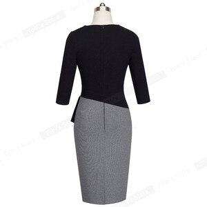 Image 3 - لطيفة إلى الأبد ناضجة أنيقة الخامس الرقبة vestidos تذبذب فستان العمل مكتب Bodycon 3/4 كم غمد المرأة فستان الأعمال B333