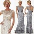Gorgeous Champagne gris sirena larga lf2739 madre de la novia vestidos encaje 2015 mujeres del partido de tarde Vestido de madrina