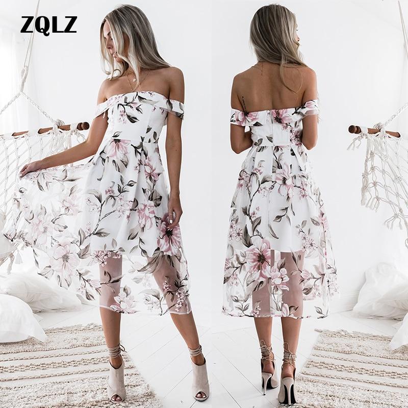 Zqlz 2018 новое летнее сексуальное пляжное платье с открытой спиной для женщин с вырезом лодочкой с коротким рукавом с цветочным принтом богемн...