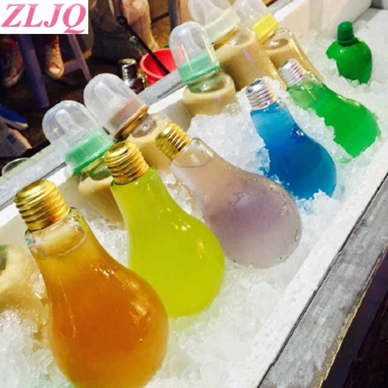 ZLJQ 100ML 200ML 300ML 400ML LED Glowing Bulb Water Bottle Leak-proof Light Bulbs bottle Wedding Favor Christmas Party supplies