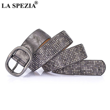 LA SPEZIA Women Pin Buckle Belt Rivet Sliver Grey For Trousers Female Real Leather Cowhide High Quality Ladies Rock Belts