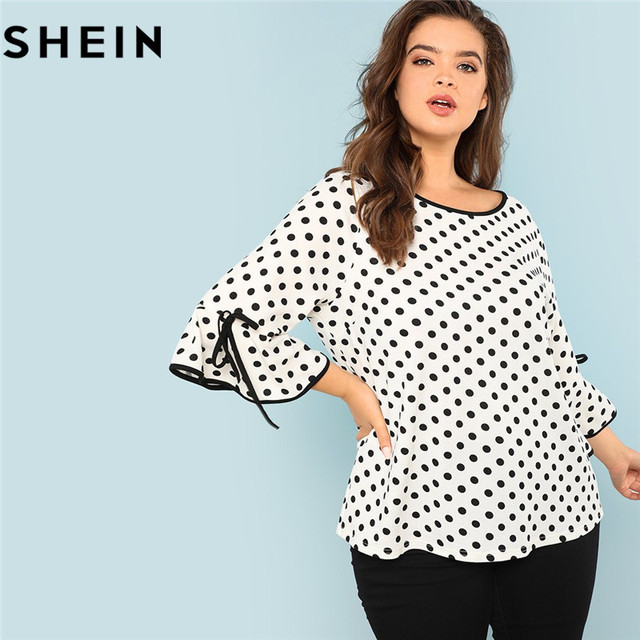 16501d2d3a397c SHEIN Black And White Polka Dot Plus Size Ruffle Sleeve Women Blouse Spring  Autumn New Stretchy Office Lady Workwear Top Blouses