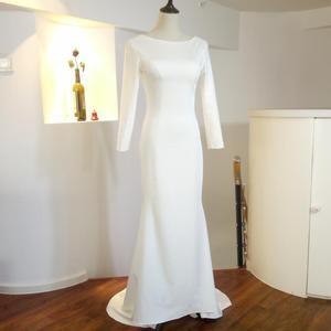 Image 5 - Marfim sereia simples vestidos de casamento 2021 moda jóia manga longa sem costas nupcial praia boêmia vestidos zw007