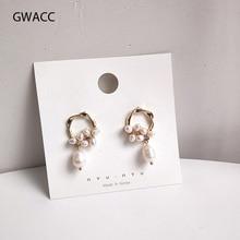GWACC Korean Design Natural Freshwater Pearl Drop Earrings For Women Girls Chic Elegant Flower Simple Fashion Jewelry