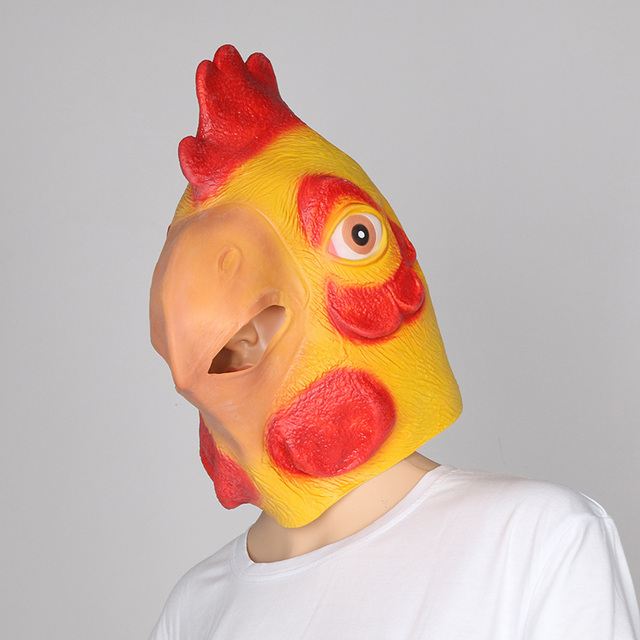Animal Chicken Mask Head Halloween Party Prop Carnival Latex Rubber Big Cock Rooster Full Face