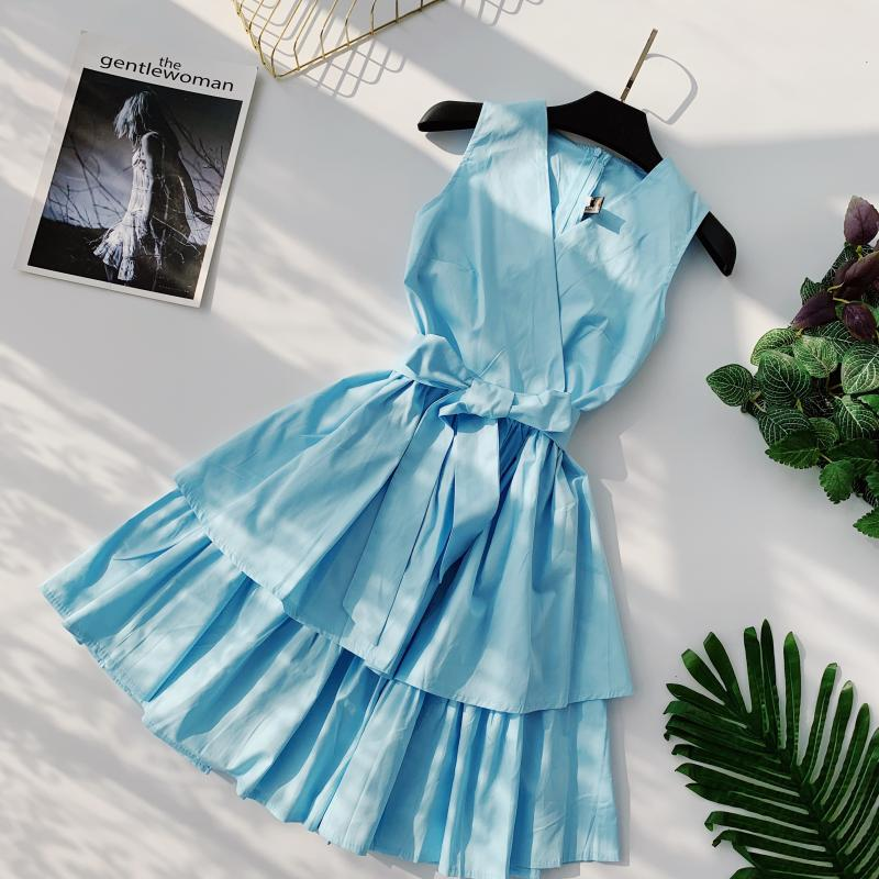 Korean Vintage Pure V Collar Sleeveless High Waist Bow Tie Double Ruffle Holiday Dress Women Vestidos E348 86