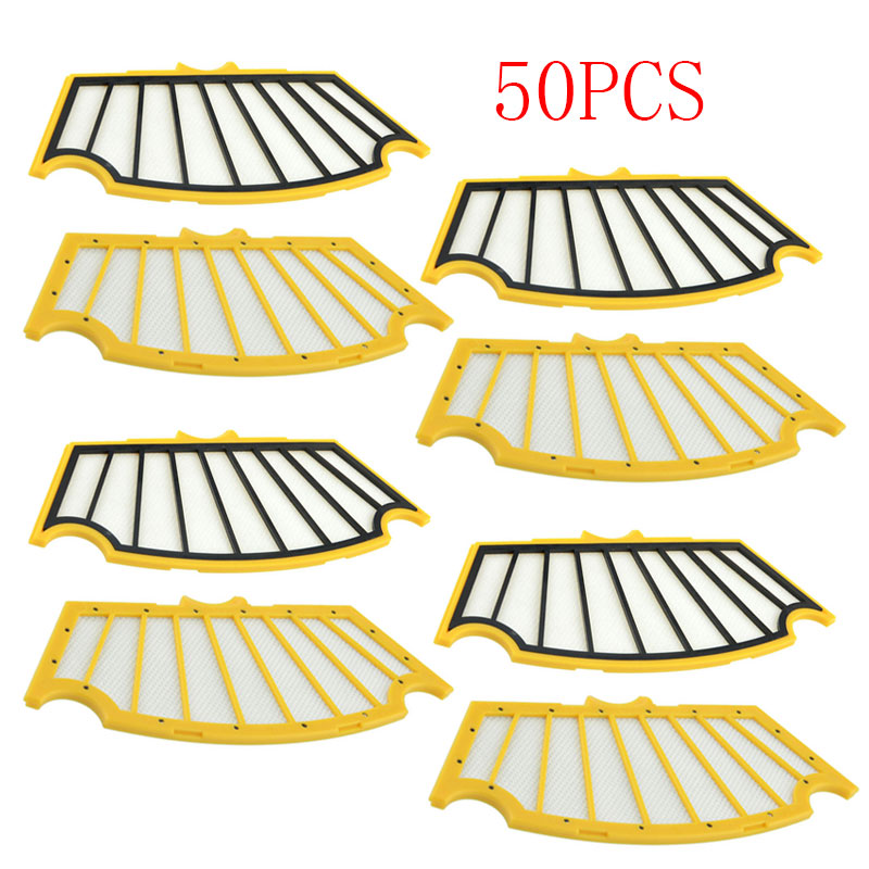 50 Pieces Replacement Filter for iRobot Roomba 500 510 530 531 532 533 534 535 540 550 560 570 580 581 Vacuum Cleaner Roomba