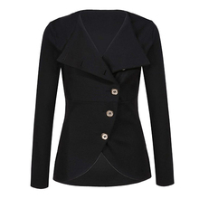 Women's Solid Fashion Outerwear Jacket Single-breasted Button Long Sleeve Turn-down Collar Spring Autumn Ladies Slim Clothing button through solid outerwear