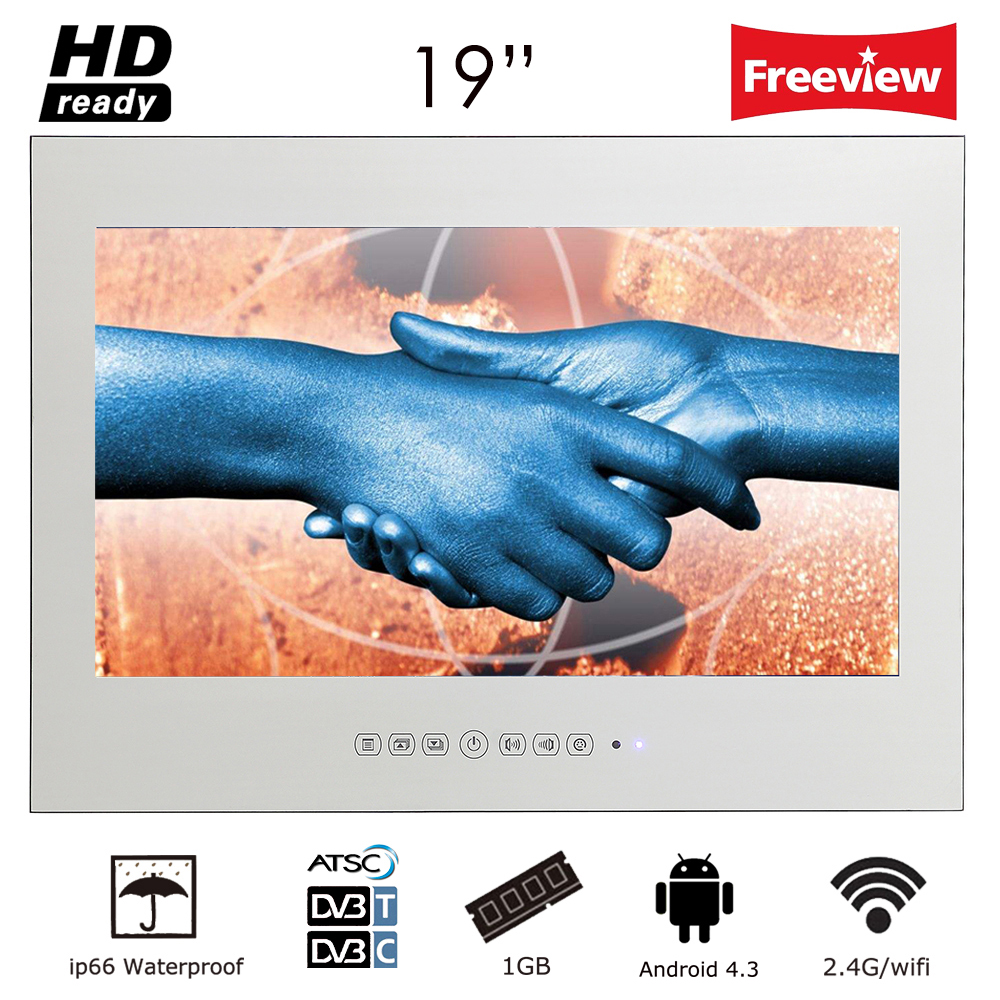 "Souria 19"" Magic Smart Android Mirror IP66 Bathroom TV USB LED Waterproof TV with TV Mounts Hotel Sauna Room"