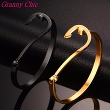 Granny Chic Top Quality Stainless Steel Jewelry Arrows Design Bracelets & Bangles Wholesale Gold Black Color Women Cuff Bracelet