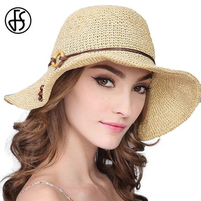 FS Moda Feminina Chapéus de Verão Para As Mulheres Aba Larga Floppy Palha  Sombreros Dobrável Praia f31f17812e7