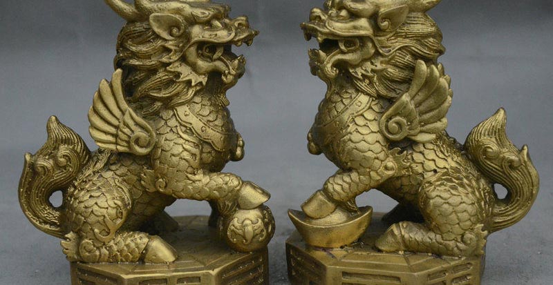 A Pair 100/% Natural China Green Jade Carved Fengshui Kylin Qilin Chi-lin Beast