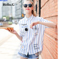 Korean Casual Loose Blue Striped Print Blouse Women Tops Cartoon Letters Embroidery Crochet Shirt Female Cardigan Plus Size 2016