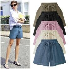 Summer Shorts Female Plus large size High Waist Wide Leg  Streetwear Black Cotton Linen 5XL 6XL Women 2019