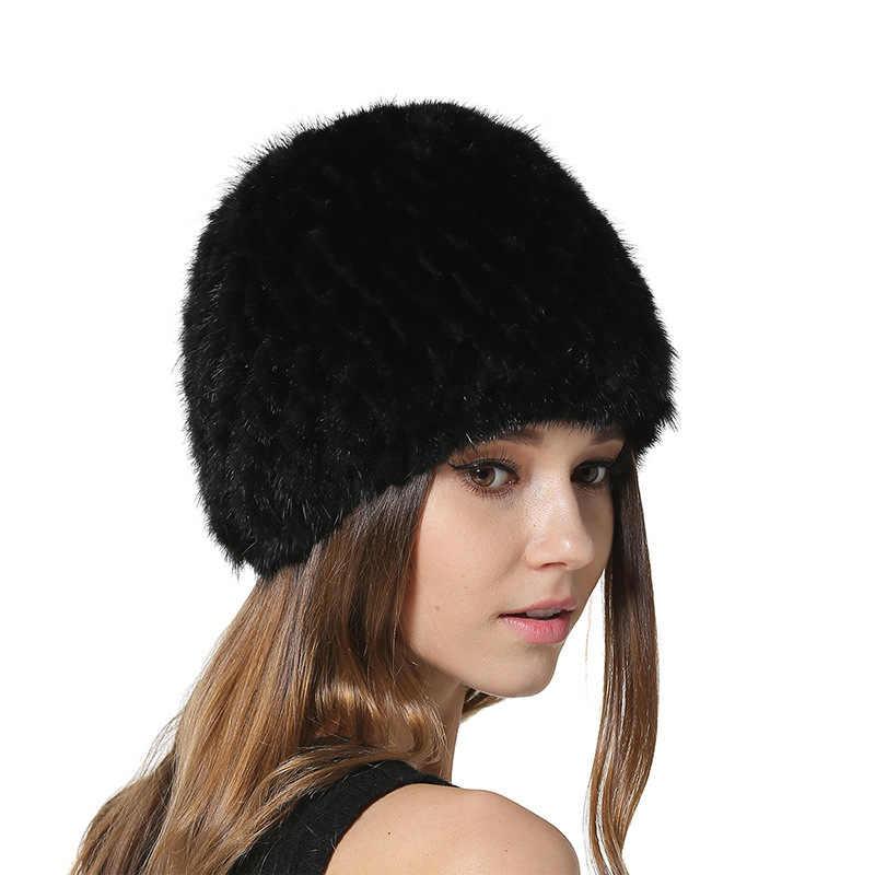 Для женщин реального трикотажные норки с лисьим мехом Женская зимняя обувь шапки