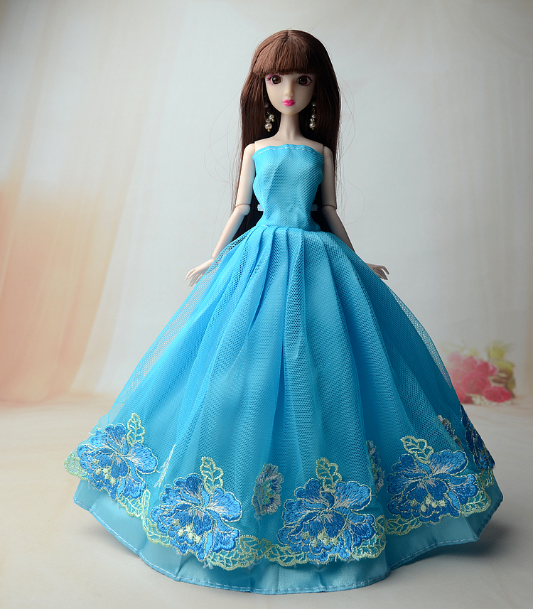 NK  One Purple Color Handmade wedding Bridal Dress Clothing For Barbie doll Princess Outfit Clothes Gift For Girls Wholesale keyhole neck empire waist plus size skater dress