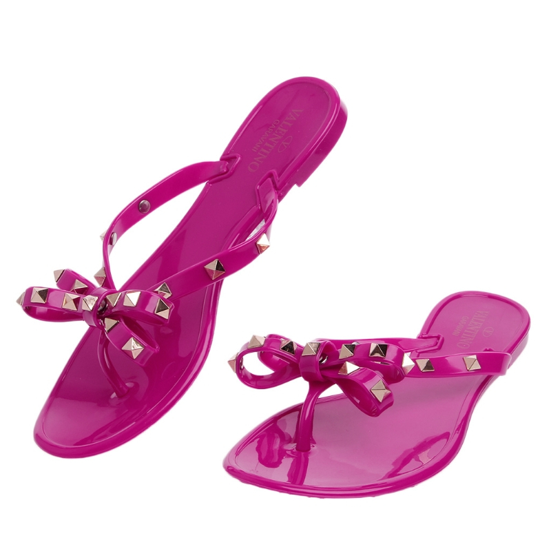 2017 Fashion Women Summer Flat Flops Rivet Jelly Shoes Flip Flop Bowknot Crystal Thong Sandal Woman Flat With Solid Color New 2017 fashion melissa jelly rhinestones flip flops bow glitter sandals women stransparent flat single shoes