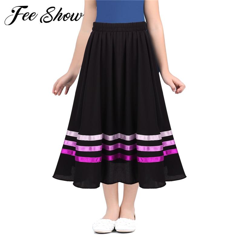 Ballet character skirt Teen Girls High Waist Long Maxi Full Circle Skirt for Performance Celebration of Spirit Praise Dance Wear