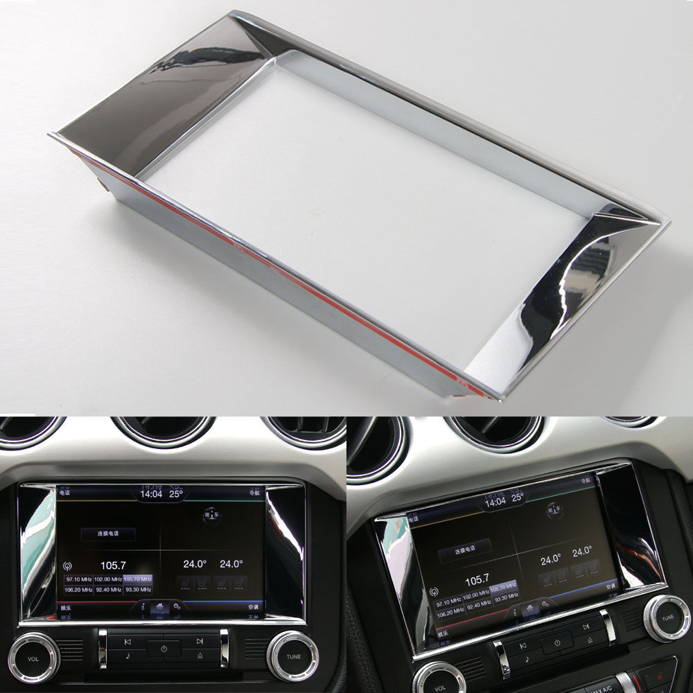 Shiny Center Console GPS Navigation Panel Cover Trim For Ford Mustang 15 16 17