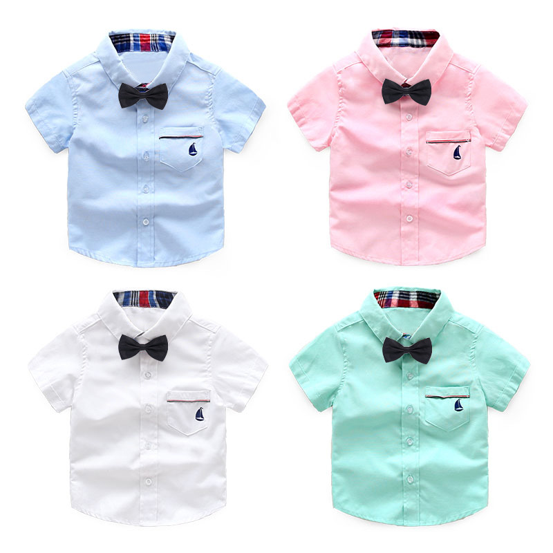 2018 New Design Boy's Shirt Fashion High Quality Casual Short Sleeve Turn-down Collar With Tie Cotton Soft Shirt kid Clothing men s slim fit casual turn down collar solid color short sleeve polo t shirt