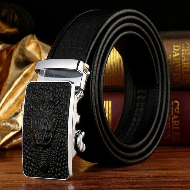 Homens famosos Cinto Marca 100% de Boa Qualidade Cowskin Genuine Cintos de Couro de Luxo dos homens para Homens, Correia Masculina de Metal Fivela automática