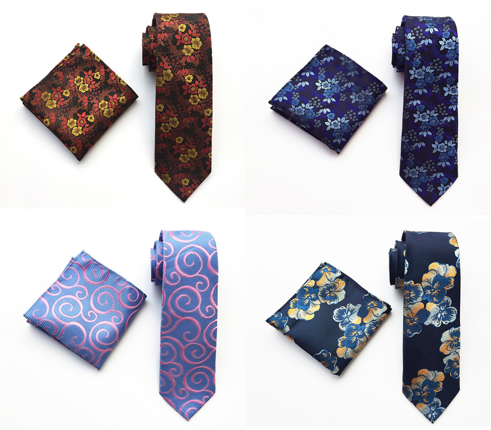 Floral Mens Tie Set Silver White Purple Red Pink Blue Orange Jacquard Silk Tie Pocket Square 8cm Classic Ties For Men Corbatas