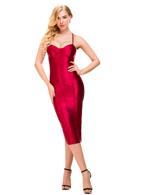 d410783a3b75 Sexy Spaghetti Straps Bodycon Red Party Dress Open Back Satin Gold Black  Tight Package Hips Sleeveless Split Midi Dress