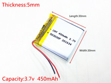 Free shipping Polymer battery 450 mah 3.7 V 503030 smart home MP3 speakers Li-ion battery for dvr,GPS,mp3,mp4,cell phone,speaker