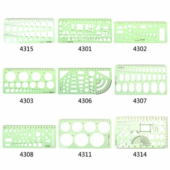 9 different  rulers  Green Plastic Circles Geometric Template Ruler Stencil Measuring Tool Students 1