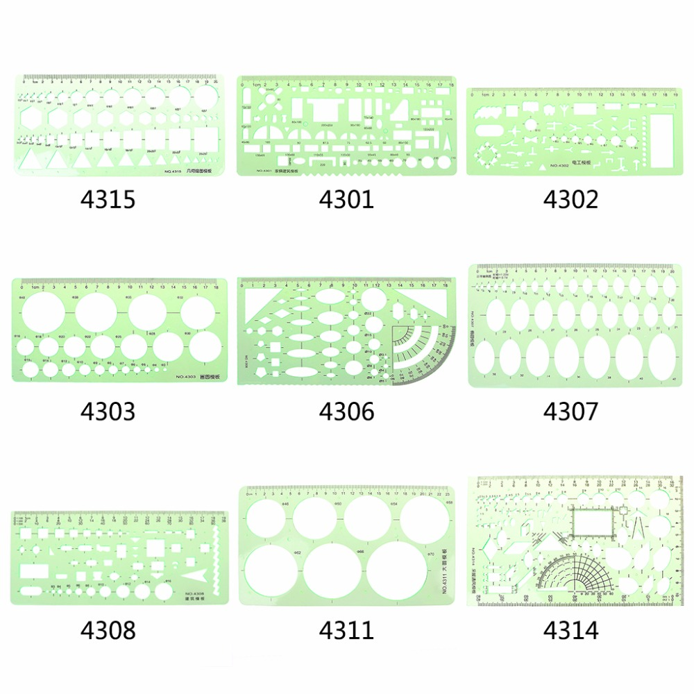 9 Different  Rulers  Green Plastic Circles Geometric Template Ruler Stencil Measuring Tool Students