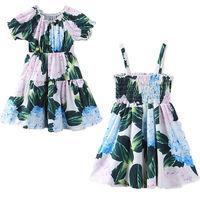 Green Ruffles Kids Baby Girls Dress Strap Floral Print Girl Dresses Princess Party Wedding Tutu Dresses