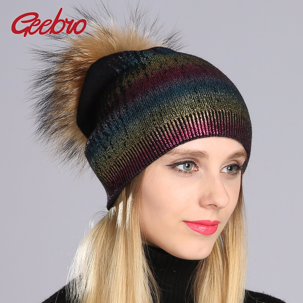 Geebro Winter Women's Beanies Hat Casual Warm Knitted Wool Beanies With Real Fur Pom Pom Ladies Raccoon Fur Pompons Hat DQ050