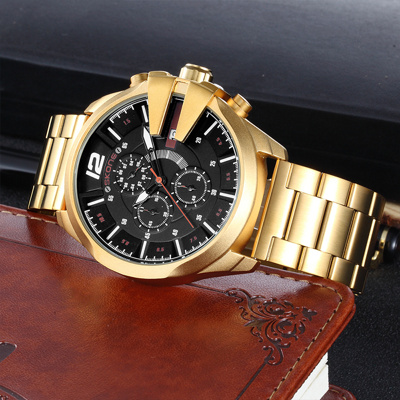 SKONE Watches Men Luxury Brand Quartz Clock Steel and Leather Strap Men's Wristwatch Casual Sports Male Watch Relogio Masculino new listing pagani men watch luxury brand watches quartz clock fashion leather belts watch cheap sports wristwatch relogio male