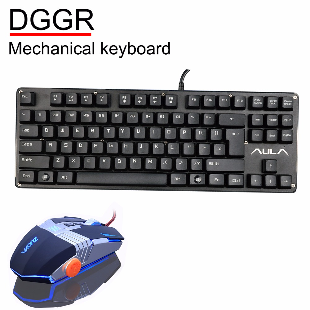 AULA DGGR Gamer Gaming Mechanical Keyboard 87 Keys Blue switch And mouse for Ccomputer PC With English Russian Spanish Arabic