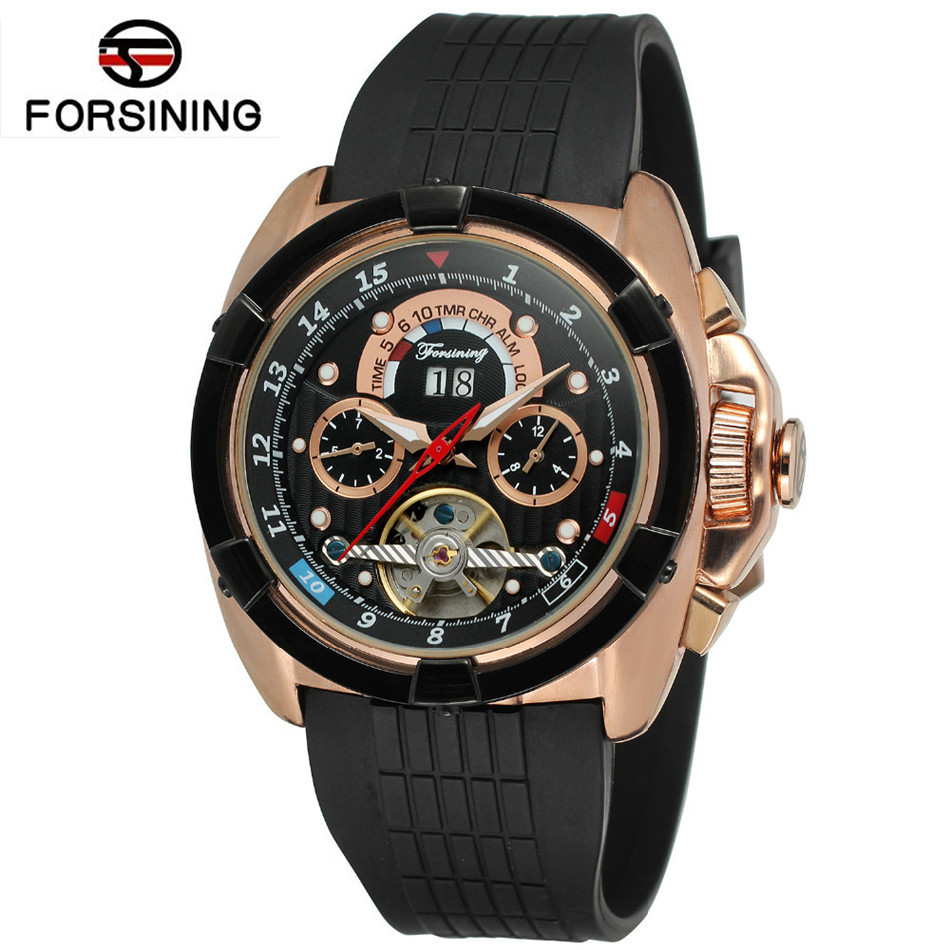 Forsining Casual Montre Homme Watch Men's Watches Day/Week/24Hours Tourbillion Rubber Watches Wristwatch Gift Box Free Ship forsining montre homme mens watches top brand luxury day week 24hours tourbillion pu leather wristwatch gift box free ship