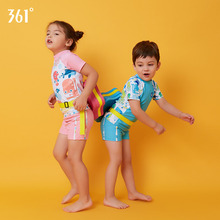 купить 361 Kids Swimsuit Cute Girls Swimwear Two Piece Short Sleeve Character Swimming Suit Boys Bathing Suit Children Swimming Trunk дешево