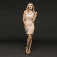 High Quality Sexy Women Dress Khaki Squate Collar Rayon Mini Bandage Dress