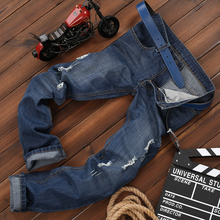 New Fashion Ripped Men s Jeans Slim Denim Biker Pants Washed Blue Color Trousers Skinny Jeans