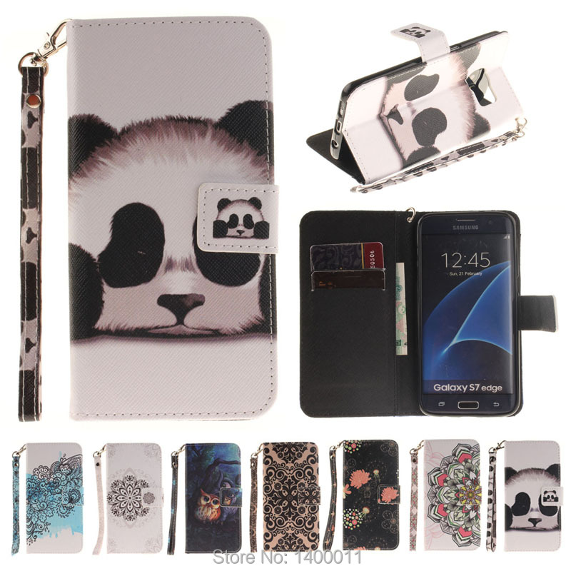 Top quality Painting Stand Flip Leather Case For Samsung Galaxy S5 S6 S7 edge / S6 edge plus Cell Phone Cover For Galaxy S8 PLUS