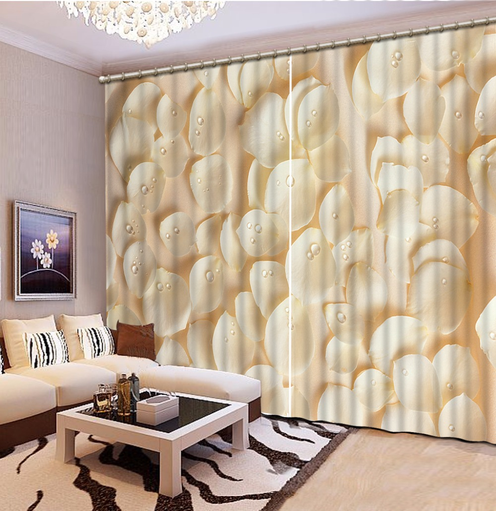 Fashion Customized Home Bedroom Decoration 3D Curtain White Flower Petals Curtains For Bedroom Blackout Shade Window Curtains