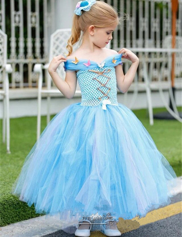 New Off Shoulder Princess Sky Blue Baby Girls Birthday Dress 2017 Custom Made Flower Girl Dress Any Size plus size off the shoulder bodycon dress