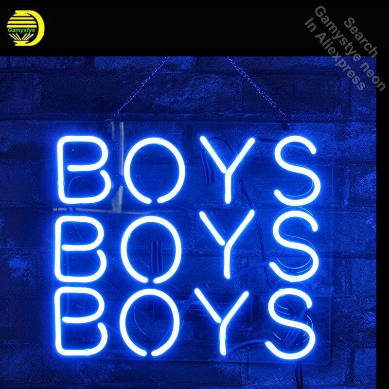 Bleu garçons néon enseigne néon ampoules signe cheval néon lumières vrai verre Tube artisanat emblématique signe magasin affichage avec enseigne 17X14