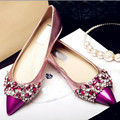 Spring Summer 2017 Pointed Toe Flat Woman Shoes Colorful Jeweled Sandals Crystal Shoes Woman Party Sandals