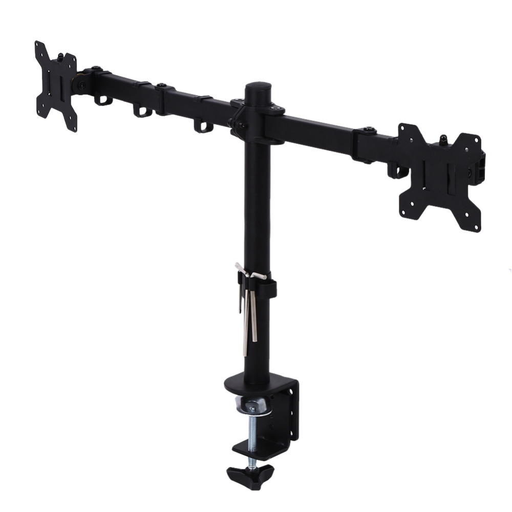 Overseas Single Dual LCD Monitor Desk Stand Mount Backet Fully Adjustable Screen up to 27 for Computers TV Metal Shelf Bracket