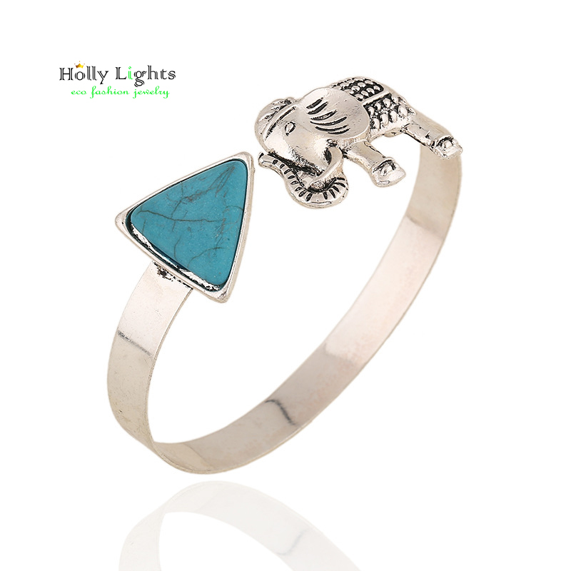 Vintage marble green carter bracelet&bangles vintage silver elephant animal arm cuff marble ivory bangle tribal pulseiras black