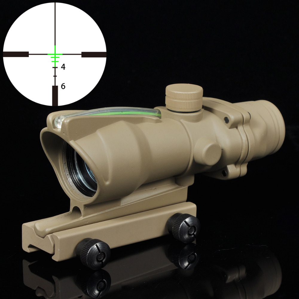 цены Greenbase ACOG 4x32 Green Illuminated Riflescopes Fiber Optic Crosshair BDC Reticle .223 Ballistic Reticle Rifle Compat Scopes