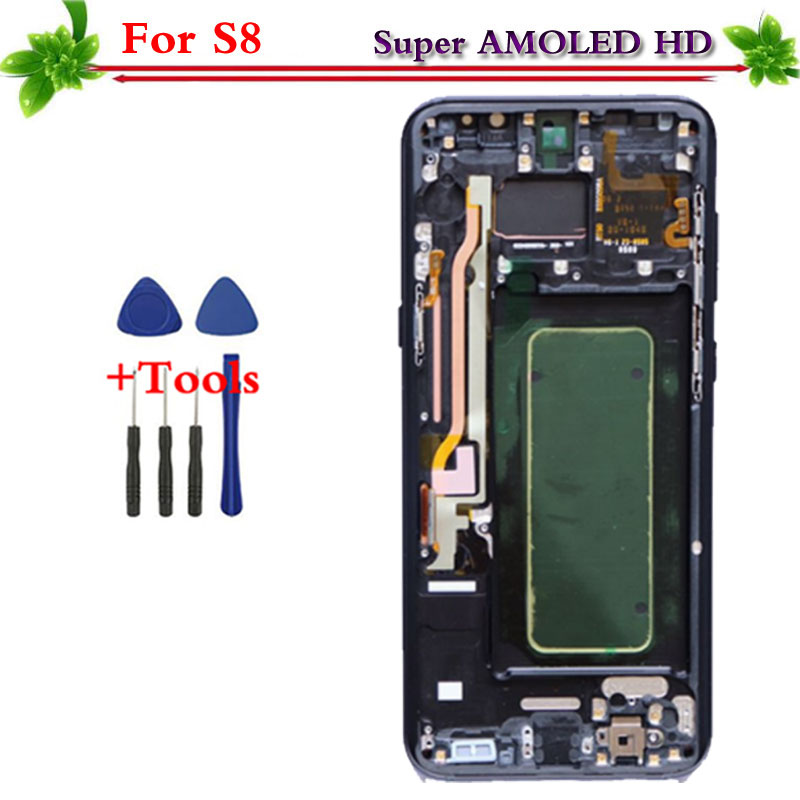 Alta calidad AMOLED para reemplazo para Samsung Galaxy S8 G950 G950F LCD de pantalla táctil digitalizador Asamblea llama herramientas libres
